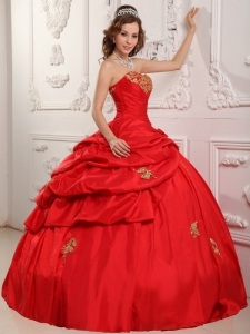 Wonderful Red Sweet 16 Quinceanera Dress Sweetheart Taffeta Appliques Ball Gown