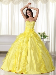 Yellow Ball Gown Sweetheart Floor-length Taffeta Embroidery Sweet 16 Dress