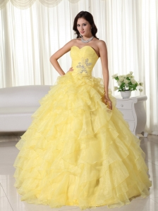 Yellow Ball Gown Sweetheart Neck Floor-length Organza Appliques Sweet 16 Dress