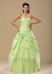 Yellow Green Hand Made Folwers and Ruched Bodice In Indianapolis For Sweet 16 Dress