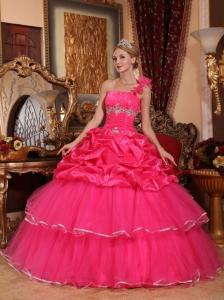 Discount Hot Pink Sweet 16 Dress One Shoulder Organza Beading and Pick-ups Ball Gown