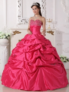 Discount Hot Pink Sweet 16 Dress Sweetheart Taffeta Beading Ball Gown