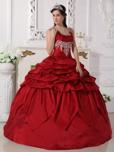 Gorgeous Wine Red Sweet 16 Quinceanera Dress Scoop Taffeta Beading Ball Gown