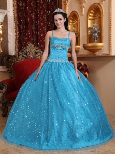 Modest Blue Sweet 16 Dress Spaghetti Straps Sequined Beading Ball Gown