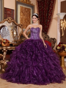 Affordable Dark Purple Sweet 16 Dress Sweetheart Organza Sequins Ball Gown