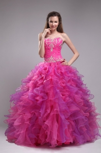 Affordable Fuchsia Sweet 16 Dress Sweetheart Orangza Appliques Ball Gown