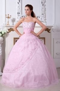 Baby Pink Sweet 16 Dress / Princess Sweetheart Organza Embroidery Floor-length