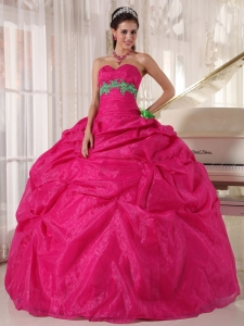 Beautiful Hot Pink Sweet 16 Dress Sweetheart Organza Appliques Ball Gown