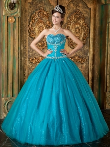 Brand New Teal Sweet 16 Dress Sweetheart Beading Tulle A-Line / Princess
