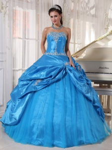 Cheap Sky Blue Sweet 16 Dress Strapless Taffeta and Tulle Appliques Ball Gown