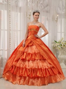 Classical Orange Sweet 16 Quinceanera Dress Strapless Taffeta Ruffles Ball Gown