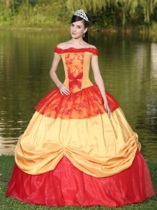 Colorful Off The Shoulder Neckline For Sweet 16 Dress With Appliques
