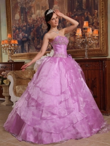 Discount Lavender Sweet 16 Dress Strapless Organza Beading Ball Gown