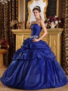 Discount Royal Blue Sweet 16 Dress Strapless Pick-ups Taffeta Ball Gown