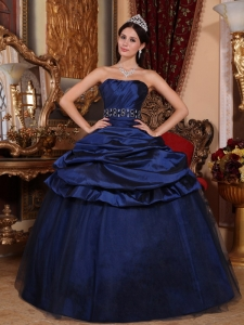 Elegant Navy Blue Sweet 16 Dress Strapless Tulle and Taffeta Beading Ball Gown