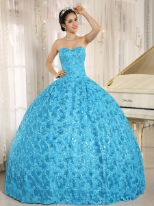Embroidery and Sequins On Tulle Sweetheart Teal Sweet 16 Dress 2013 In El Alto City