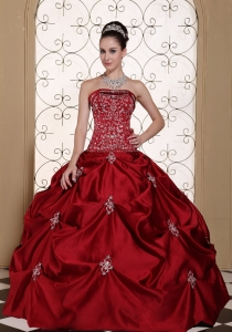 Embroidery in Wine Red Taffeta Pick-ups Strapless Modest Sweet 16 Dress in New York