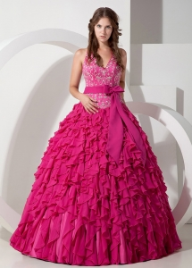 Exclusive Hot Pink Ball Gown Halter Sweet 16 Dress Chiffon Embroidery Floor-length