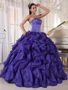 Low Price Purple Sweet 16 Dress Strapless Satin and Organza Beading Ball Gown