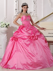 Modest Rose Pink Sweet 16 Dress Sweetheart Taffeta Beading and Hand Made Flowers Ball Gown