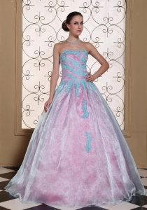 Multi-color Appliques On Organza Strapless Lovely Sweet 16 Dress For 2013