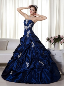 Navy Blue Pretty Sweet 16 Dress Strapless Floor-length Taffeta Appliques