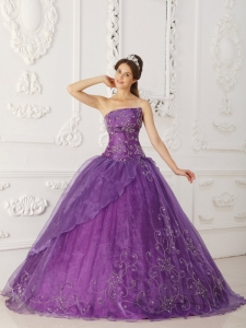 New Purple Sweet 16 Dress Strapless Satin and Organza Beading Ball Gown