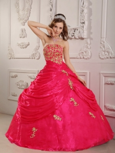 Perfect Coral Red Sweet 16 Dress Strapless Organza Appliques Ball Gown