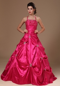 Pick-ups Halter Hot Pink Taffeta Military Ball Gowns For Custom Made