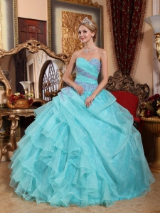 Popular Aqua Blue Sweet 16 Dress Sweetheart Organza Appliques and Ruch Ball Gown