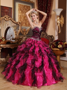 Popular Black and Hot Pink Sweet 16 Dress Sweetheart Organza Beading and Ruffles Ball Gown