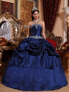 Popular Blue Sweet 16 Quinceanera Dress Strapless Taffeta Beading Ball Gown