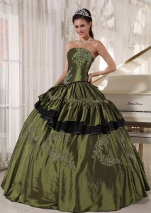 Populor Olive Sweet 16 Quinceanera Dress Strapless Taffeta Beading Ball Gown