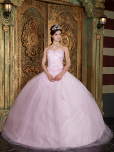 Pretty Baby Pink Sweet 16 Dress Sweetheart Tulle Appliques Ball Gown