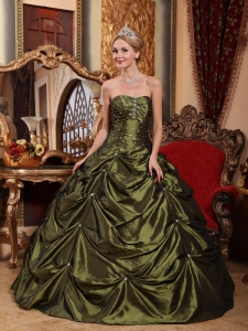 Pretty Olive Green Sweet 16 Dress StraplessTaffeta Beading Ball Gown