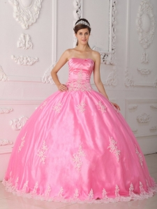 Pretty Pink Sweet 16 Quinceanera Dress Strapless Lace Appliques Ball Gown
