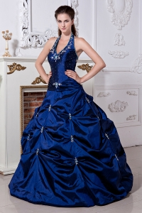 Royal Blue / Princess Halter Sweet 16 Dress Taffeta Embriodery Floor-length