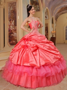 Sweet Coral Red Sweet 16 Quinceanera Dress One Shoulder Taffeta Ball Gown