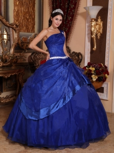Top Seller Royal Blue Sweet 16 Dress One Shoulder Organza Beading Ball Gown