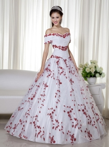 White and Red Ball Gown Off The Shoulder Floor-length Taffeta and Organza Embroidery Sweet 16 Dress