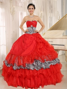 Wholesale Red Sweetheart Ruffles Sweet 16 Dress With Zebra and Beading In Santa Fe