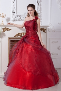 Wine Red Sweet 16 Dress One Shoulder Taffeta and Organza Floor-length