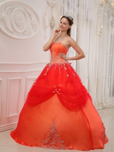 Affordable Orange Red Sweet 16 Dress Strapless Taffeta and Tulle Appliques Ball Gown