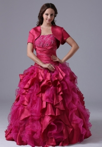 Ball Gown Fuchsia Ruffles Beaded Decorate Bust Military Ball Gowns With Ruch In Maine