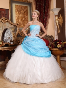 Beautiful Aqua Blue and White Sweet 16 Dress Strapless Taffeta and Tulle Hand Made Flowers Ball Gown