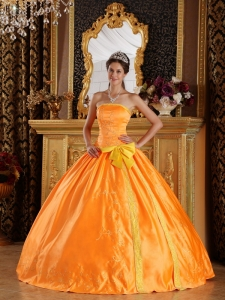 Beautiful Orange Sweet 16 Dress Strapless Satin Embroidery Ball Gown