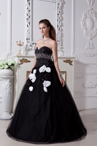 Black Sweet 16 Dress Beading and Hand Made Flowers / Princess Sweetheart Floor-length Organza