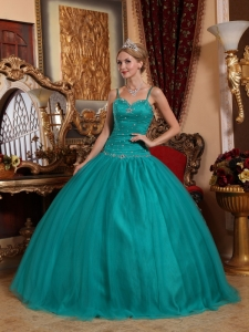 Brand New Teal Sweet 16 Dress Spaghetti Straps Tulle Beading Ball Gown