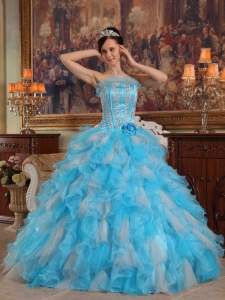 Cheap Aqua Sweet 16 Dress Gown Strapless Appliques Organza Blue Ball