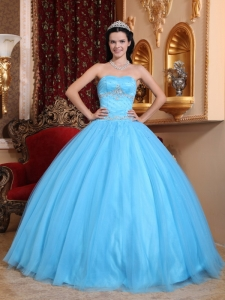 Classical Aqua Blue Sweet 16 Dress Sweetheart Tulle and Taffeta Beading Ball Gown